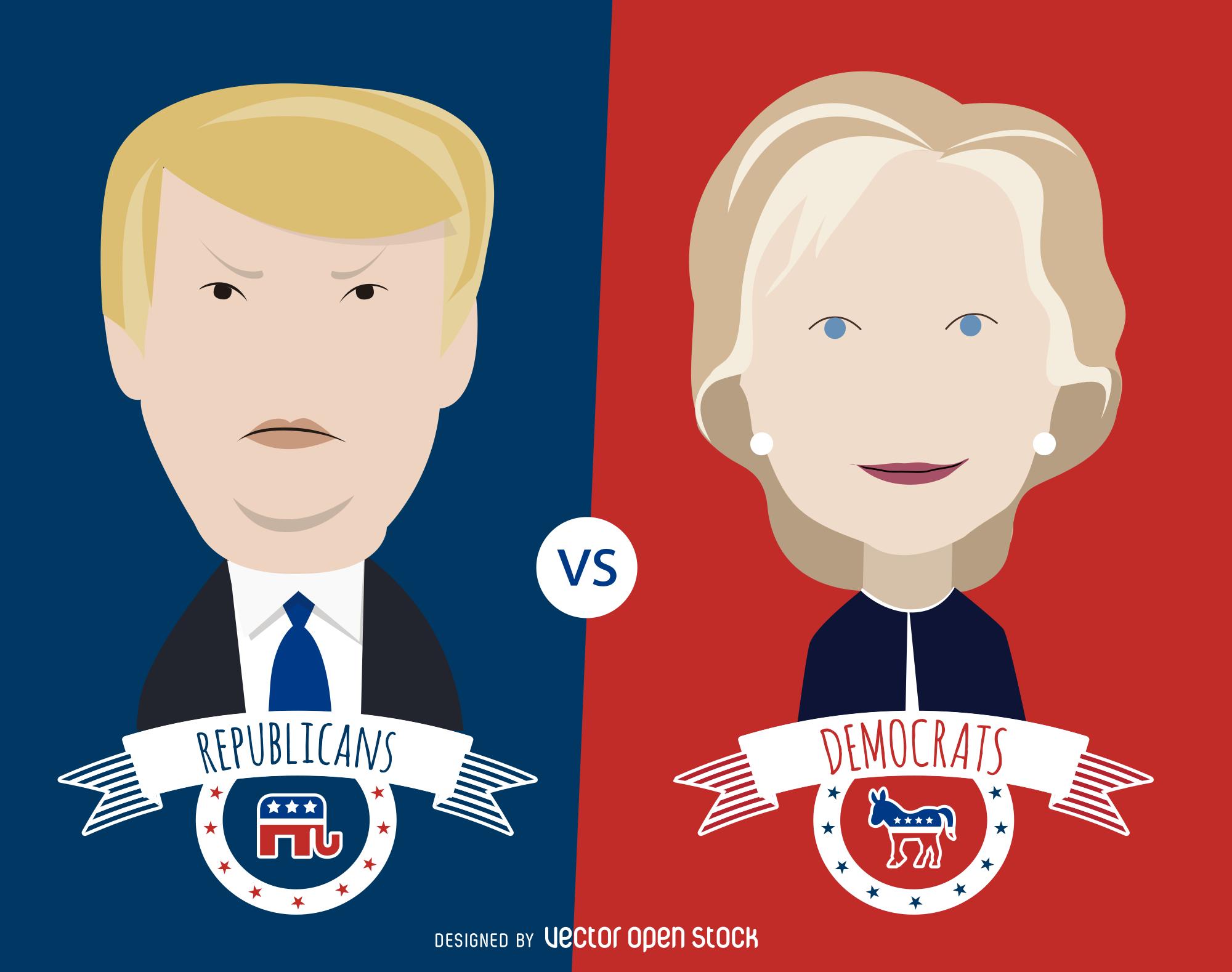 2000x1578 Fileusavector 022 01 Clinton And Trump Cartoon Illustration.svg