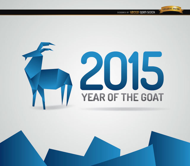 640x560 Free Vectors 2015 Blue Origami Goat Year Background Vector Open