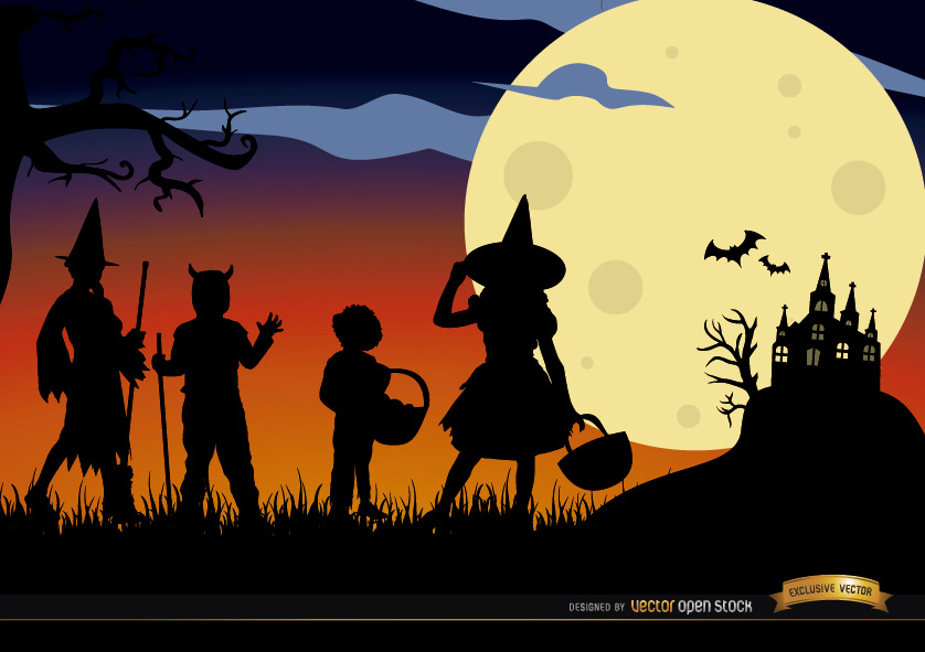 838x591 Halloween Kids In Costumes Silhouettes Download This Free