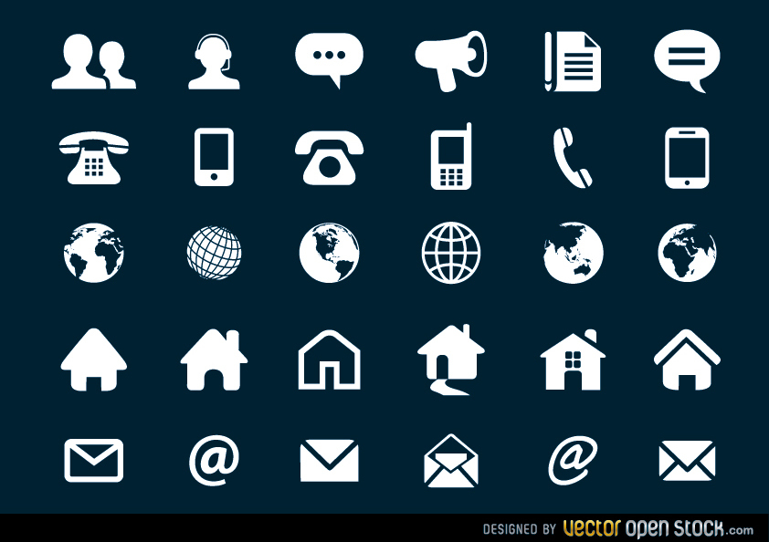 842x594 Contact Flat Icons Set