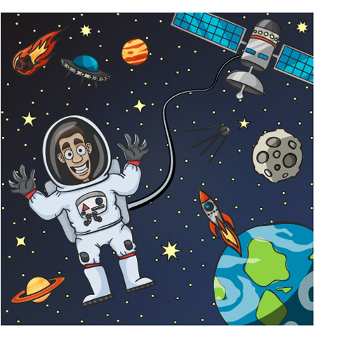500x504 Cartoon Astronauts With Outer Space Vector 03
