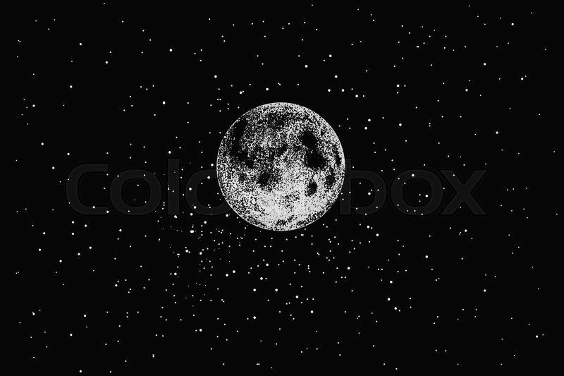 800x533 Full Moon In Outer Space On Stars Backgraund.dotwork.vector