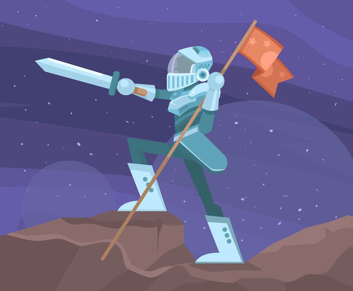 1136x936 Outer Space Knight With Flag Vector Vector Art Amp Graphics