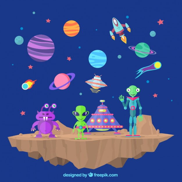626x626 Outer Space And Aliens Vector Premium Download