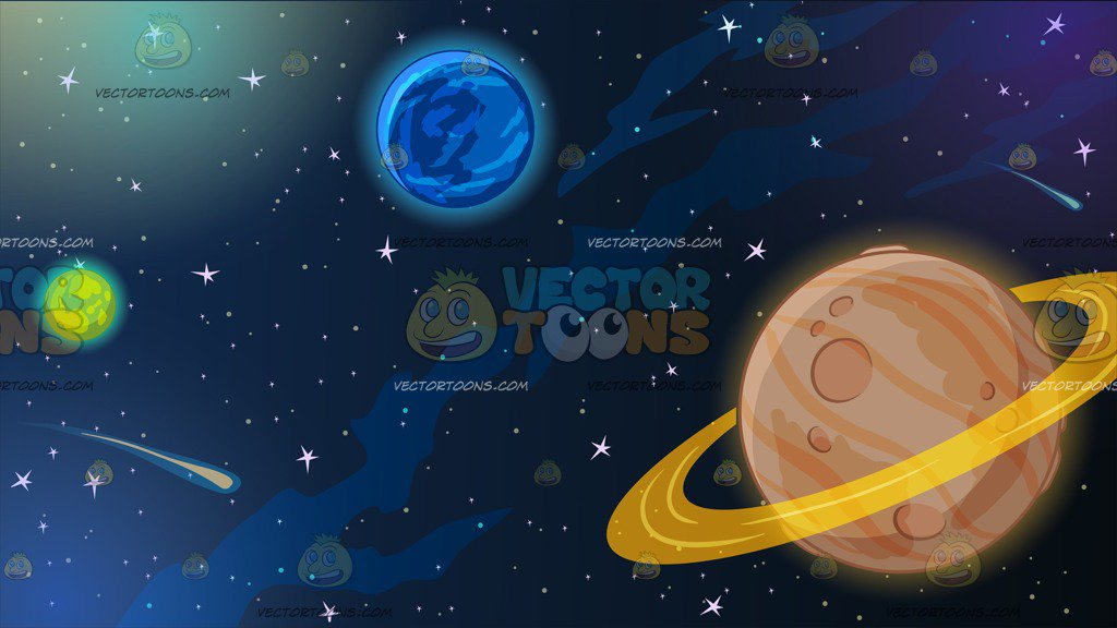 1024x576 Planets In Outer Space Background Clipart By Vector Toons