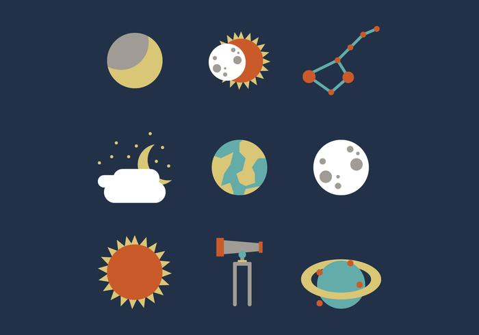 700x490 Solar Eclipse And Outer Space Vector Set