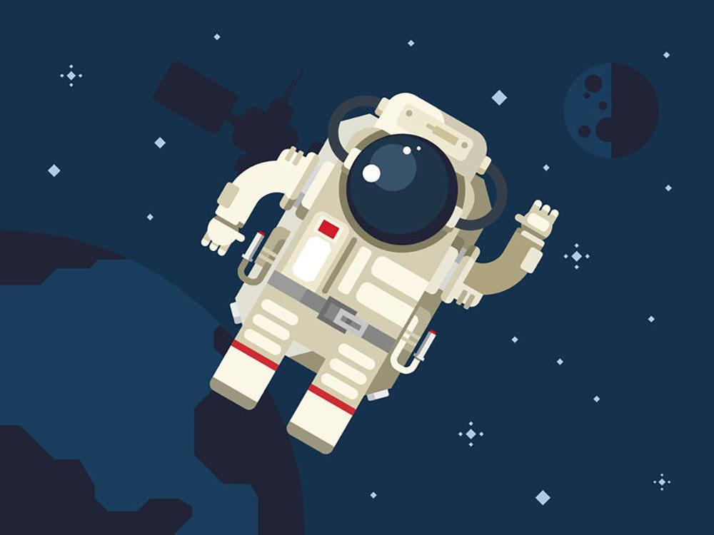 1000x750 Astronaut In Outer Space Concept Vector Wall Mural Wallpaper