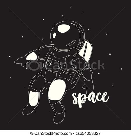 450x470 Astronaut In Outer Space Modern Minimalistic Vector. Astronaut In