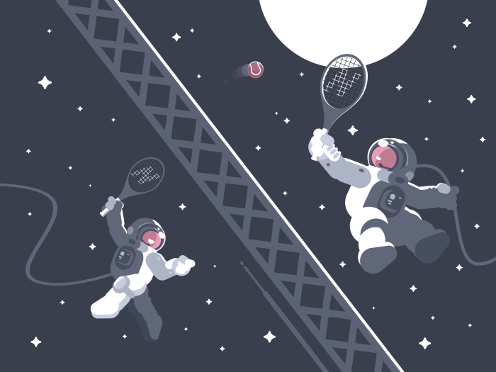 700x525 Astronauts Playing Tennis In Outer Space