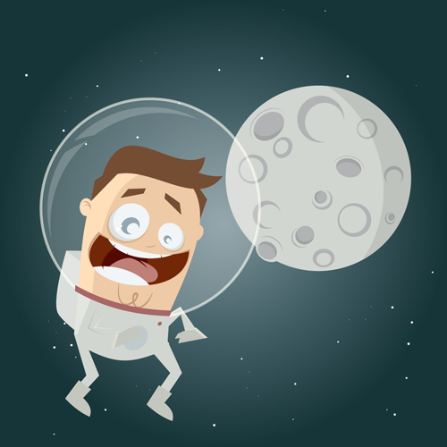 500x500 Cartoon Astronauts With Outer Space Vector 02 Free Download