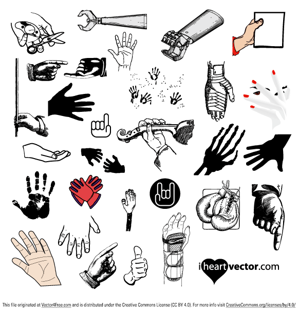 580x608 Free Hand Vector Pack