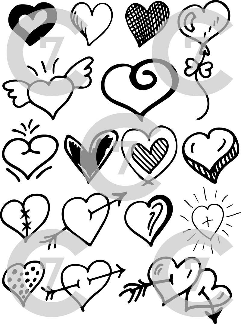 800x1072 Heart Shape Vector Art Pack Set Of 17! Hand Drawn Amp Vectorized.