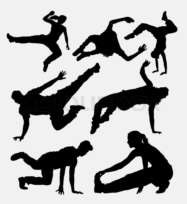 733x800 Parkour, Martial Art, Running And Jumping Sport Silhouette. Good