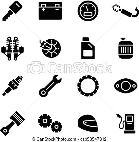 450x462 Motorcycle Parts Vector Icons. Details And Attributes For Riding A