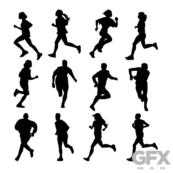 600x600 Free Vector People Runners Running Silhouettes Free Download