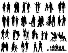 236x183 Free Vector Silhouettes Of People Standing, Sitting, Walking