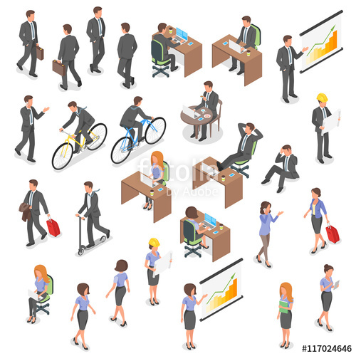 500x500 Isometric Vector Set Of Business People. Stock Image And Royalty