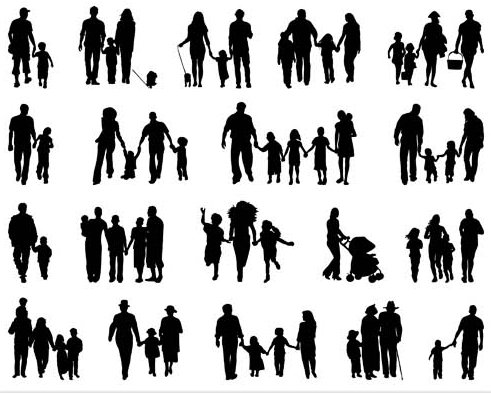 491x395 Silhouettes Of Family Vector Ai Format Free Vector Download