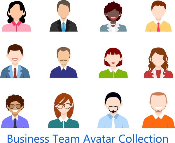 600x490 Business Team Avatar Collection Design In Colored Flat Free Vector