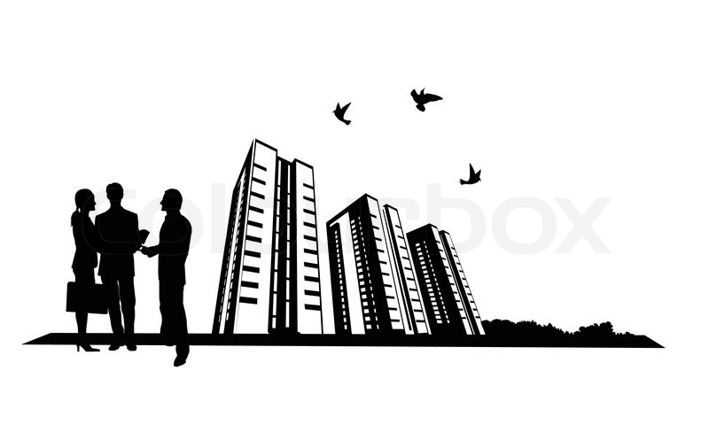 800x497 Illustration Of People And Building Site Stock Vector Colourbox