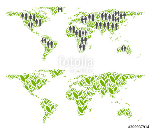 500x429 People Population And Flora Plants World Map. Vector Concept Of