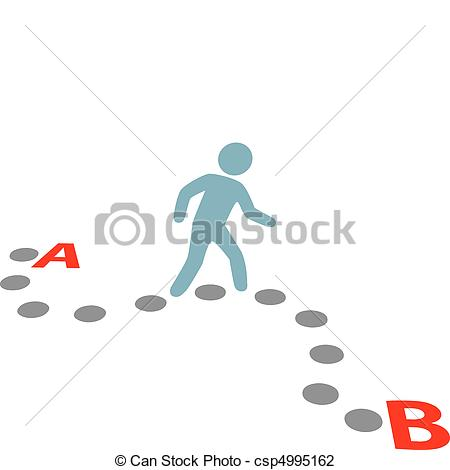 450x470 Person Walk Follow Path Plan Point A To B. A Person Follows A Path