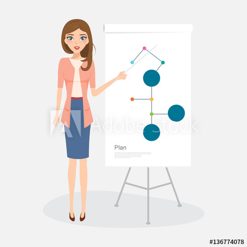 500x500 Business Woman People Character Presenting Of Work. Secretary