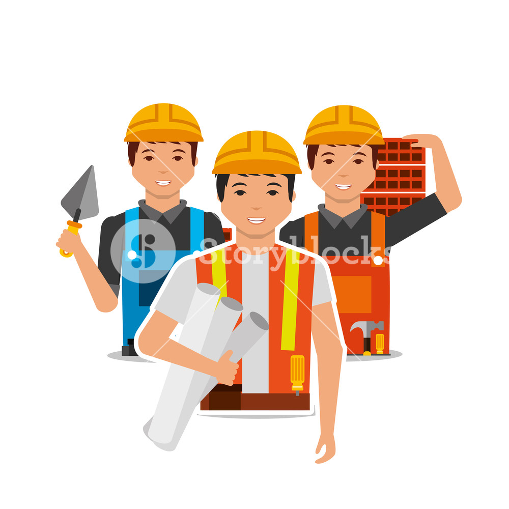 1000x1000 Construction People Worker With Project Plan Bricks And Spatula