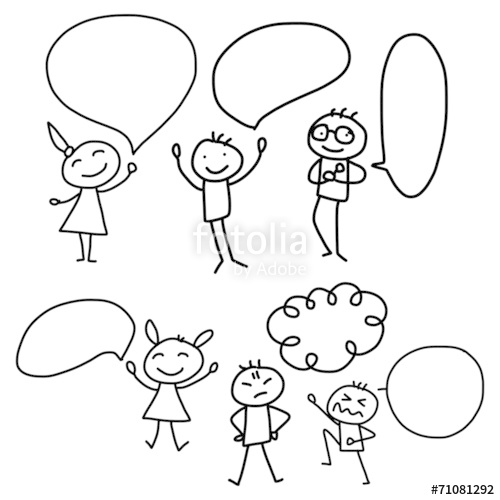 500x500 Hand Drawing Cartoon Concept Happy People Discuss Business Plan