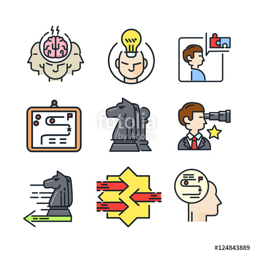 500x500 Strategic And Plan Icon Set Color Stock Image And Royalty Free