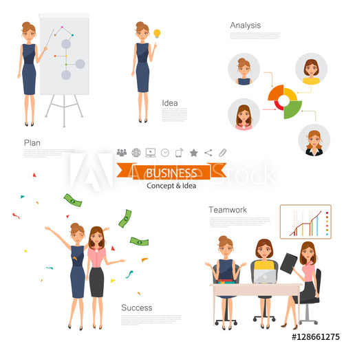 500x500 Business Woman Character With Job. Vector People Design. Business