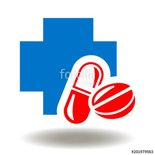 500x500 Pills Medical Cross Icon Vector. Pharmaceutical Plus Medicinal
