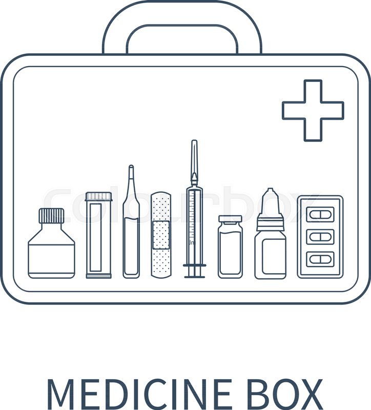 724x800 Vector Illustration Of Medicine Box With Different Pharmaceutical