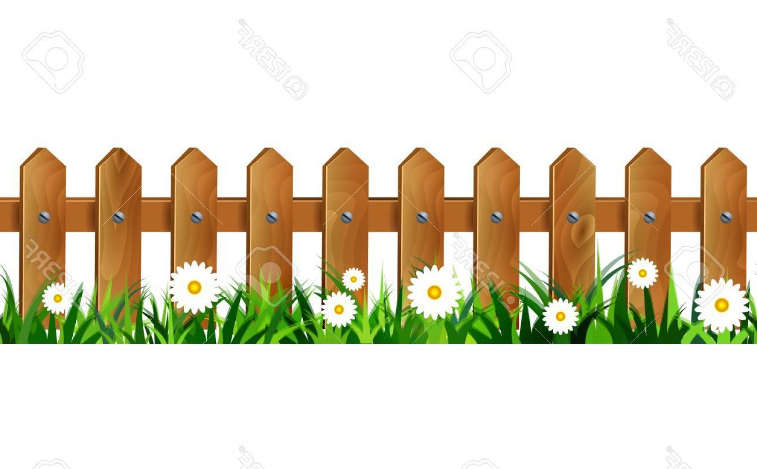 1560x966 Photostock Vector Green Grass And Wooden Fence Seamless Isolated