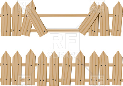 400x279 Rustic Wooden Fence Vector Image Vector Artwork Of Objects