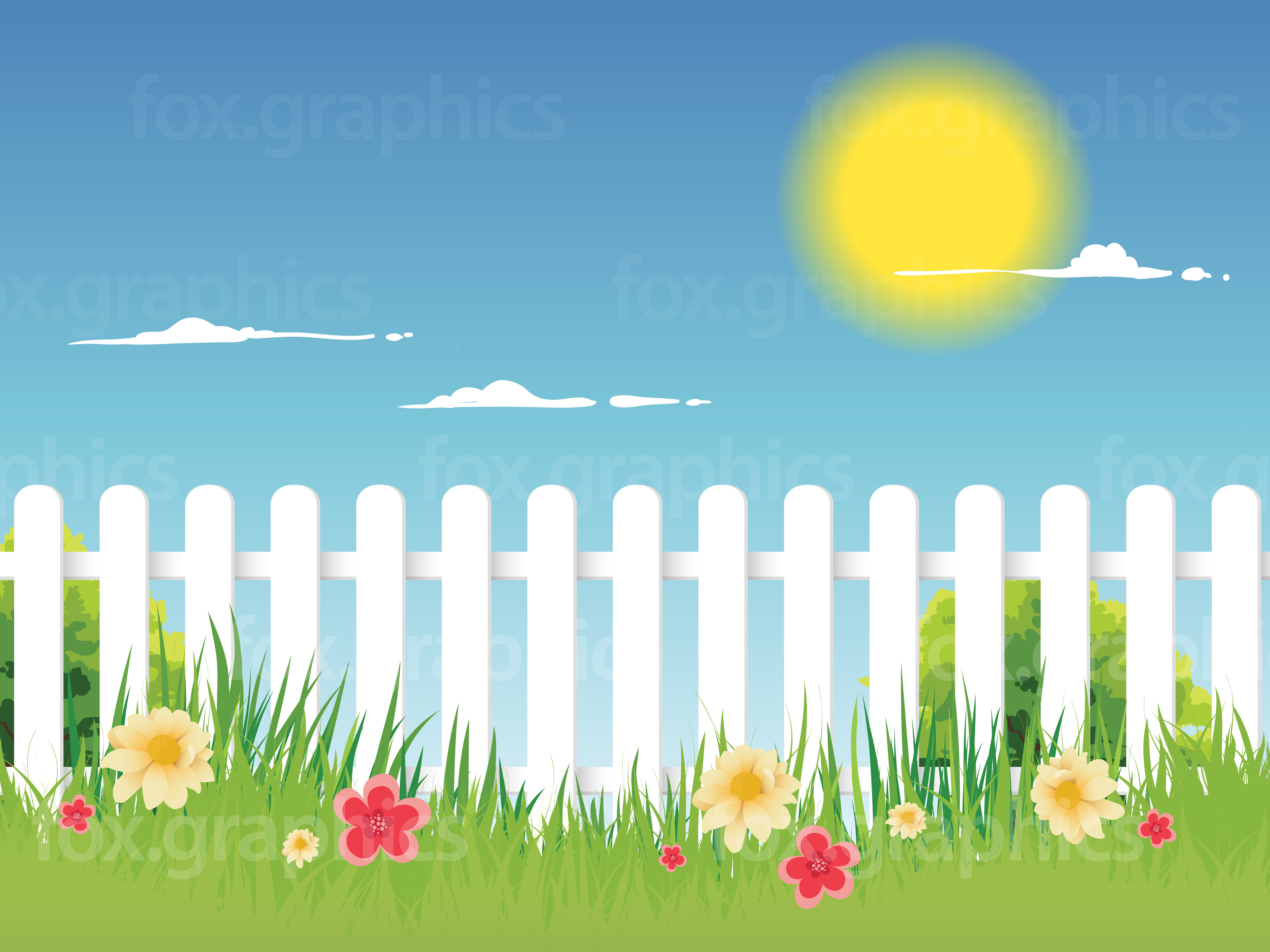 3840x2880 Vector Picket Fence Background