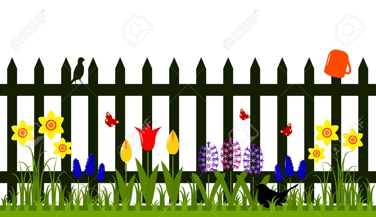 1300x751 Vector Picket Fence With Spring Flowers Isolated On White