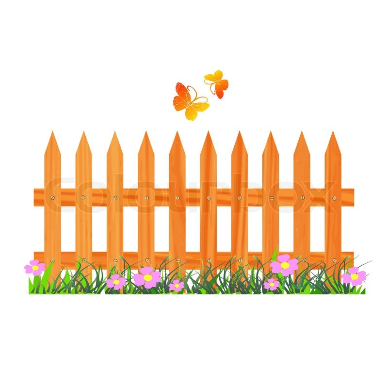 800x800 Wooden Fence With Flowers And Butterflies
