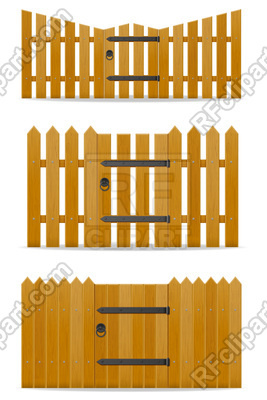 267x400 Wooden Fence With Wicket Door Isolated On White Background Vector