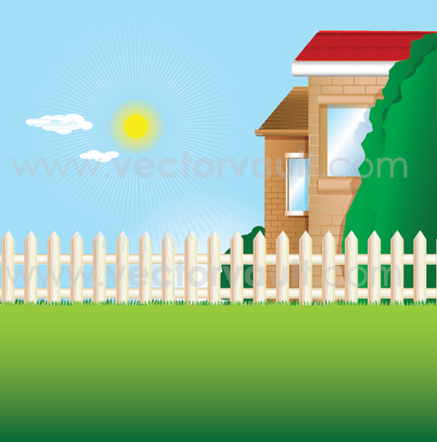 494x500 Buy Vector Back Yard With Picket Fence And Green Grass Lawn Icon