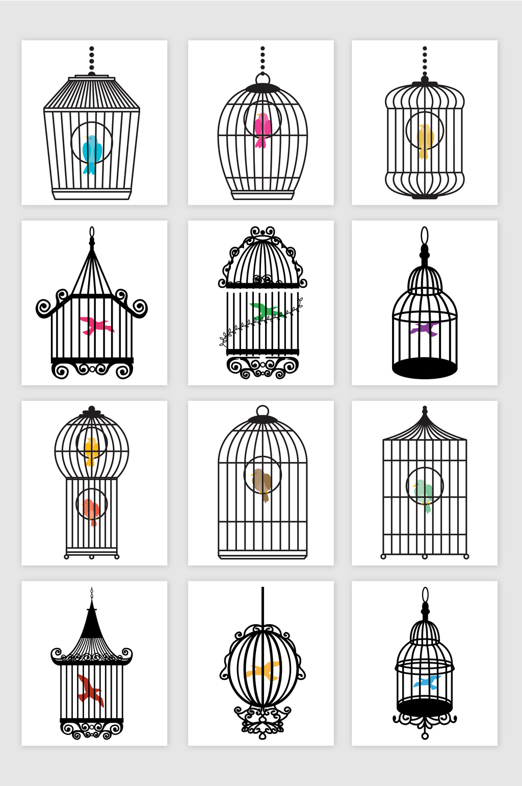 1024x1540 Line Drawing Bird And Bird Cage Theme Vector Material Free