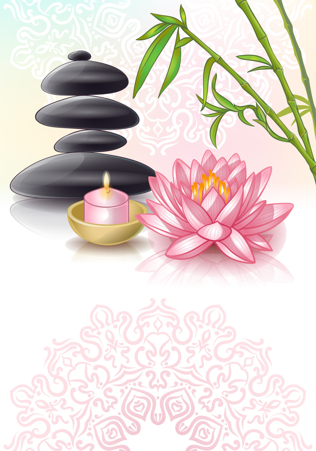 1024x1462 Beautiful Cartoon Lotus And Bamboo Vector Background Free