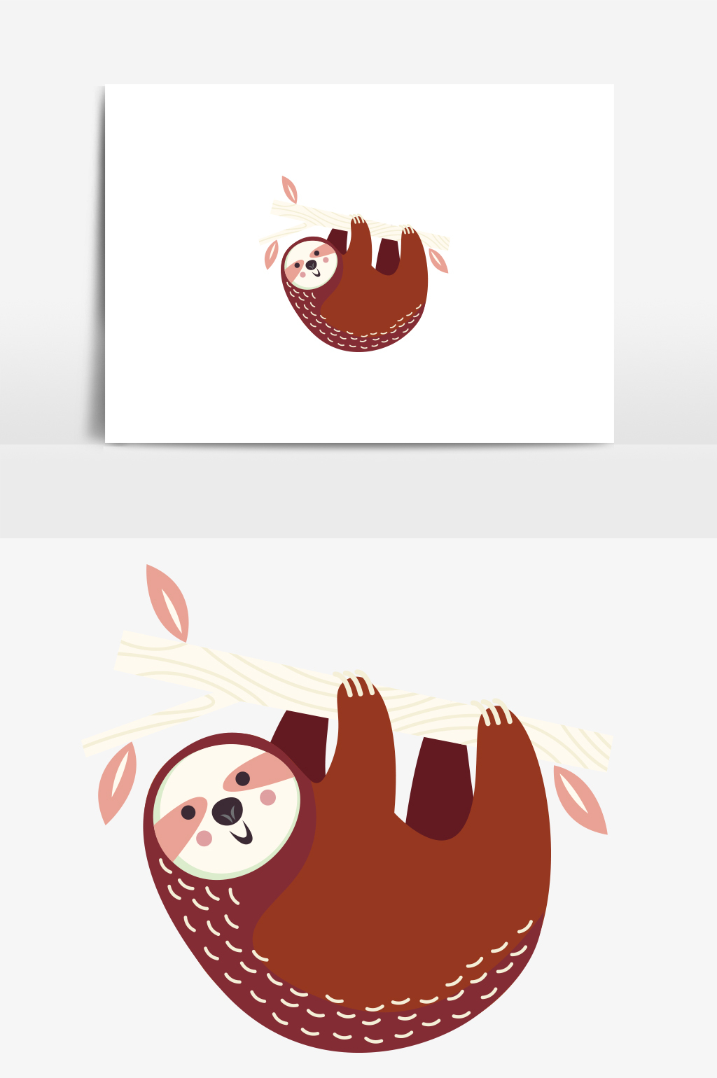 1024x1540 Cute Minimalist Jungle Sloth Cute Vector Elements Free Download