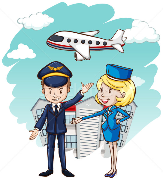 543x600 Pilot And Flight Attendant With Airplane In Background Vector