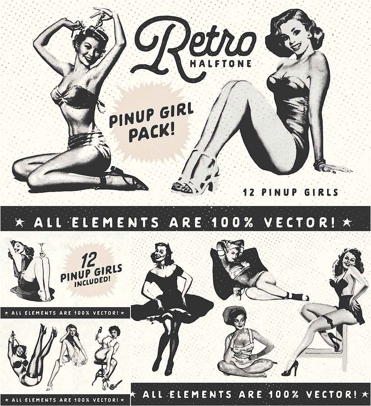 1200x1314 Retro Halftone Pinup Girl Set Free Download