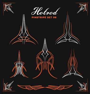380x400 Hotrod Pinstripe Vector Illustration Set 06 Free Download