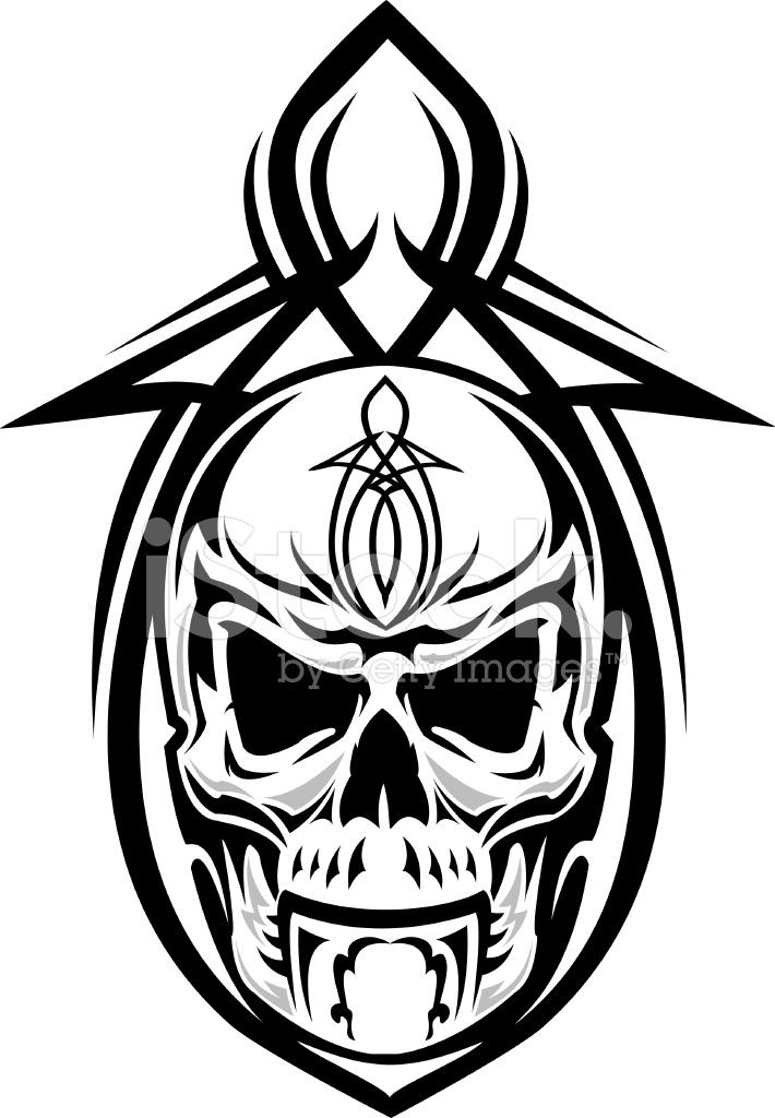 710x1024 Skull Pinstripe Design Stock Vector