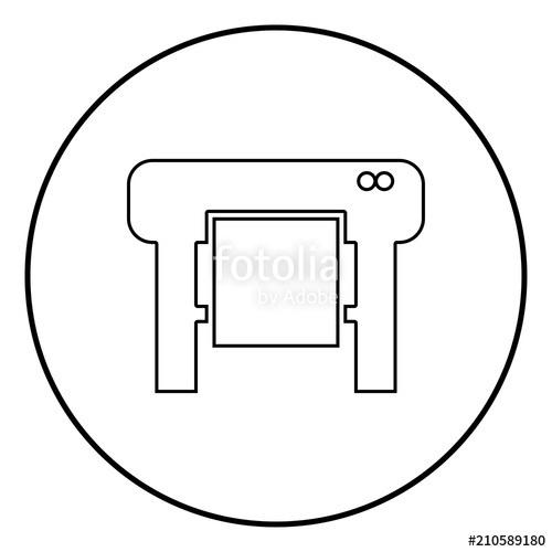 500x500 Plotter Icon Black Color In Circle Round Stock Image And Royalty