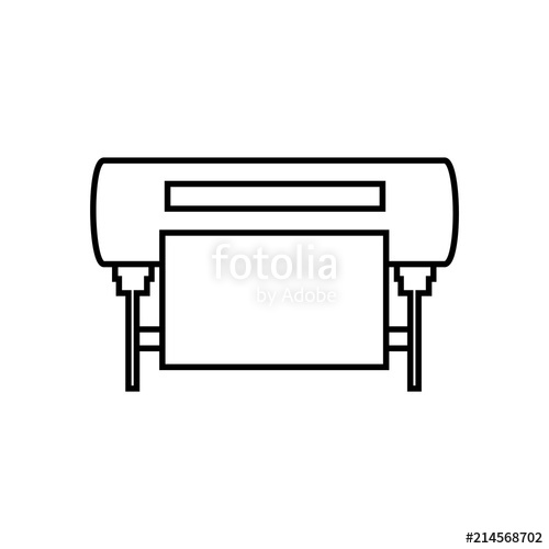 500x500 Plotter Vector Line Icon. Large Format Inkjet Printing Machine