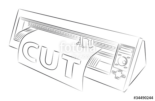 500x326 Vector Drawing Of Cutting Plotter Stock Image And Royalty Free